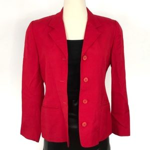 TALBOTS Red Button Down Long Sleeve Blazer
